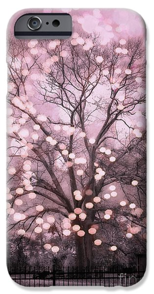 Dark Pink iPhone Cases - Surreal Fairytale Pink Nature Trees Fairy Lights Bokeh Nature Decor - Pink Holiday Fairy Lights Tree iPhone Case by Kathy Fornal