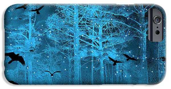 Crows Photographs iPhone Cases - Surreal Fantasy Blue Woodlands Ravens and Stars - Fairytale Fantasy Blue Nature With Flying Ravens iPhone Case by Kathy Fornal