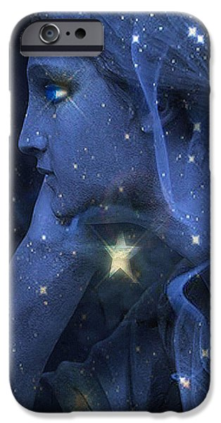 Eerie Photographs iPhone Cases - Surreal Fantasy Celestial Blue Angelic Face With Stars iPhone Case by Kathy Fornal
