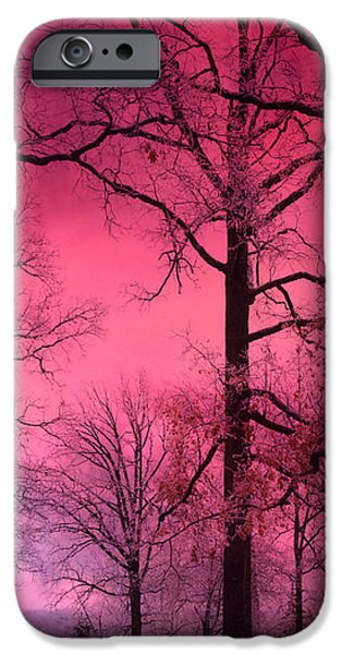 Dark Pink iPhone Cases - Surreal Fantasy Dark Pink Forest Woodlands Trees With Dark Pink Haunting Sky - Fantasy Pink Nature  iPhone Case by Kathy Fornal