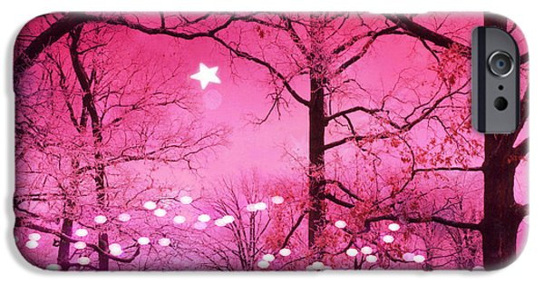 Dark Pink iPhone Cases - Surreal Fantasy Fairytale Dark Pink Haunting Woodlands Nature With Stars and Twinkling Lights iPhone Case by Kathy Fornal