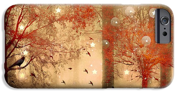 Photographs With Red. iPhone Cases - Surreal Fantasy Fairytale Nature Autumn Fall Forest Woodlands Gothic Raven iPhone Case by Kathy Fornal