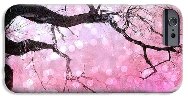 Surreal Landscape iPhone Cases - Surreal Fantasy Fairytale Pink and Black Nature Haunting Tree Limbs - Pink Bokeh Circles iPhone Case by Kathy Fornal