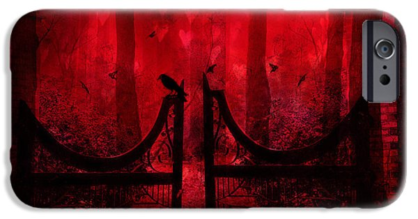 Eerie iPhone Cases - Surreal Fantasy Gothic Red Forest Crow On Gate iPhone Case by Kathy Fornal