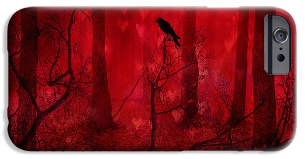 Crows iPhone Cases - Surreal Fantasy Gothic Red Woodlands Raven Trees iPhone Case by Kathy Fornal