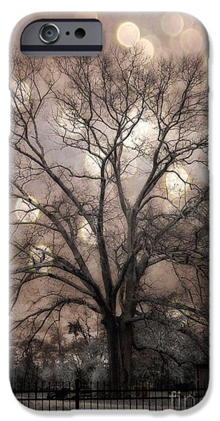 Tree Art Print iPhone Cases - Surreal Fantasy Gothic South Carolina Sepia Oak Trees and Fantasy Bokeh Circles iPhone Case by Kathy Fornal
