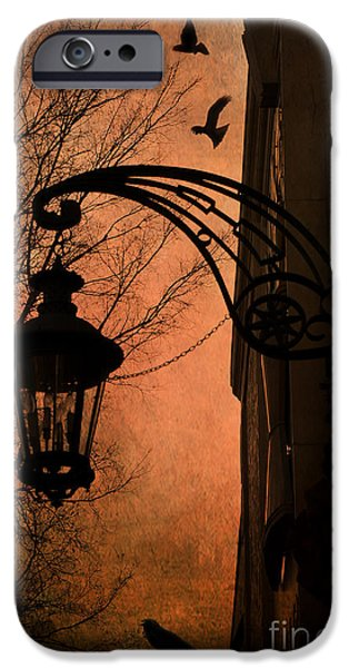 Night Lamp iPhone Cases - Surreal Fantasy Gothic Street Lantern With Crows and Ravens iPhone Case by Kathy Fornal