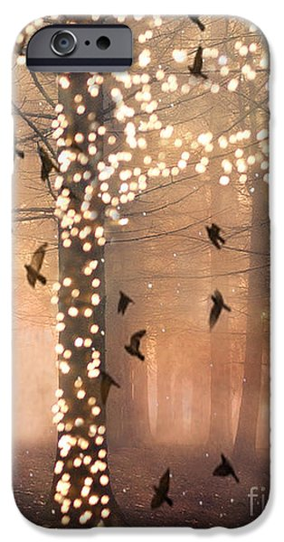 Print Photographs iPhone Cases - Surreal Fantasy Nature Trees Woodlands Forest Sparkling Lights Birds and Trees Nature Landscape iPhone Case by Kathy Fornal