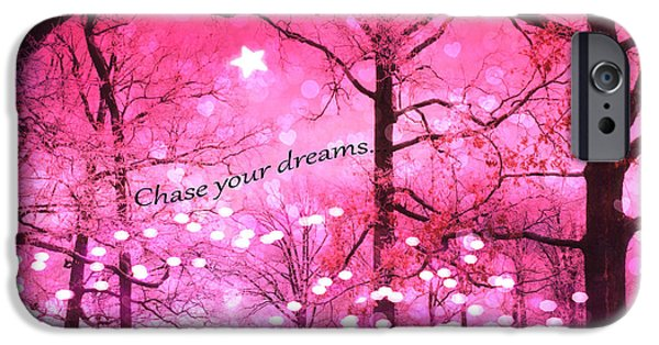 Dark Pink iPhone Cases - Surreal Fantasy Pink Nature With Inspirational Message - Hot Pink Sparkling Twinkling Lights Trees iPhone Case by Kathy Fornal