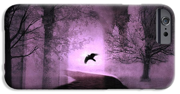 Dark Pink iPhone Cases - Surreal Fantasy Purple Nature Trees With Raven Flying Into Light iPhone Case by Kathy Fornal