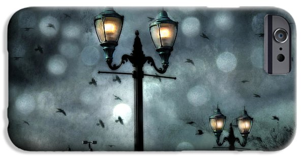 Night Lamp iPhone Cases - Surreal Fantasy Street Lamps Dreamy Flying Ravens Haunting Night Lights With Bokeh iPhone Case by Kathy Fornal