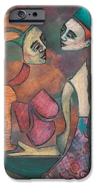 Relationship Pastels iPhone Cases - surreal figure painting - Cirque iPhone Case by Sharon Hudson