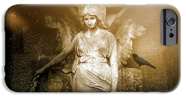 Dark Angels iPhone Cases - Surreal Gothic Angel Art Photography - Spiritual Ethereal Sepia Angel With Black Raven  iPhone Case by Kathy Fornal
