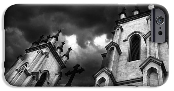 Eerie iPhone Cases - Surreal Gothic Black and White Church Steeple With Cross - Haunting Spooky Surreal Gothic Church iPhone Case by Kathy Fornal
