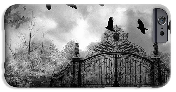 Eerie iPhone Cases - Surreal Gothic Black and White Gate With Flying Ravens  iPhone Case by Kathy Fornal