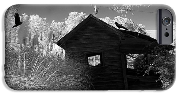 Eerie iPhone Cases - Surreal Gothic Black and White Infrared Nature Haunting Old House With Flying Ravens iPhone Case by Kathy Fornal