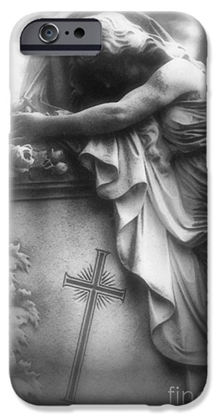 Angel. Spiritual iPhone Cases - Surreal Gothic Cemetery Angel Mourner Draped Over Coffin With Cross- Haunting Cemetery Sculpture Art iPhone Case by Kathy Fornal