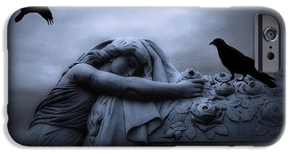 Dark Angels iPhone Cases - Surreal Gothic Cemetery Female Mourner Draped Over Coffin With Ravens - Surreal Blue Cemetery Art iPhone Case by Kathy Fornal