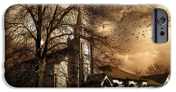 Nature Scene iPhone Cases - Surreal Gothic Church Fall Autumn Dark Sky and Flying Ravens  iPhone Case by Kathy Fornal