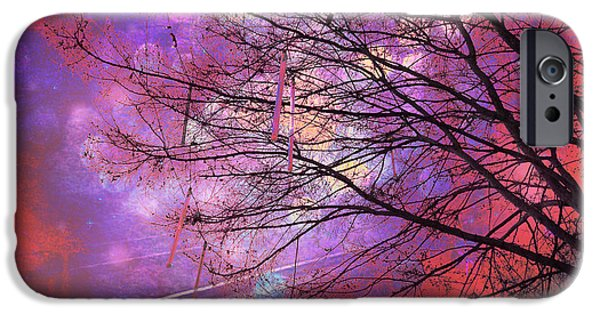 """digital Abstract"" iPhone Cases - Surreal Gothic Fantasy Abstract Bokeh Tree Nature - Abstract Black Purple Orange Trees iPhone Case by Kathy Fornal"
