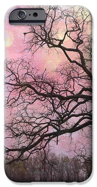 Nature Abstract iPhone Cases - Surreal Gothic Fantasy Abstract Pink Nature - Fantasy Surreal Trees Nature Photograph iPhone Case by Kathy Fornal