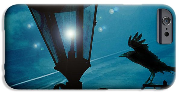 Crows iPhone Cases - Surreal Gothic Fantasy Dark Night Street Lantern With Flying Raven  iPhone Case by Kathy Fornal