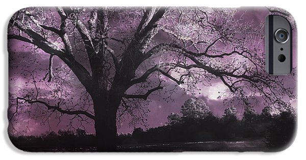 Surreal Landscape iPhone Cases - Surreal Gothic Fantasy Purple Tree Landscape - Haunting Purple Lavender Gothic Infrared Tree iPhone Case by Kathy Fornal