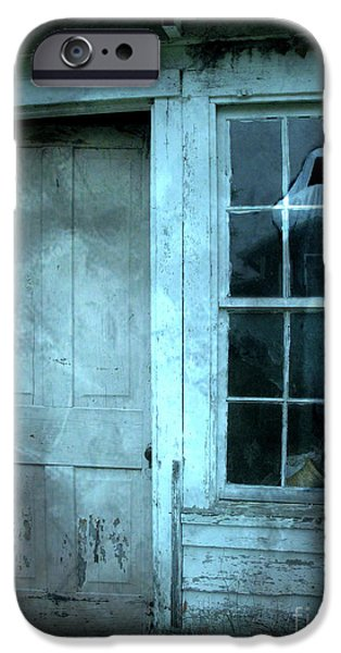 Haunted House Photographs iPhone Cases - Surreal Gothic Grim Reaper In Window - Spooky Haunted House Reflection In Window iPhone Case by Kathy Fornal