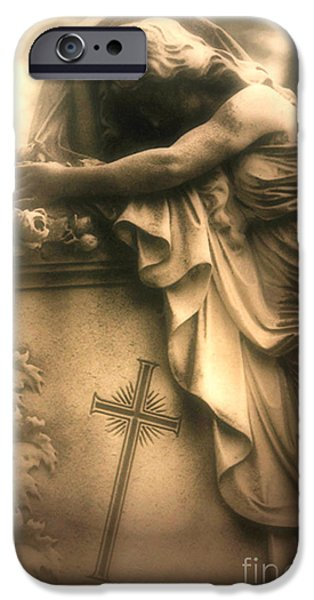 Eerie iPhone Cases - Surreal Gothic Haunting Cemetery Mourner On Grave With Cross and Roses Coffin iPhone Case by Kathy Fornal
