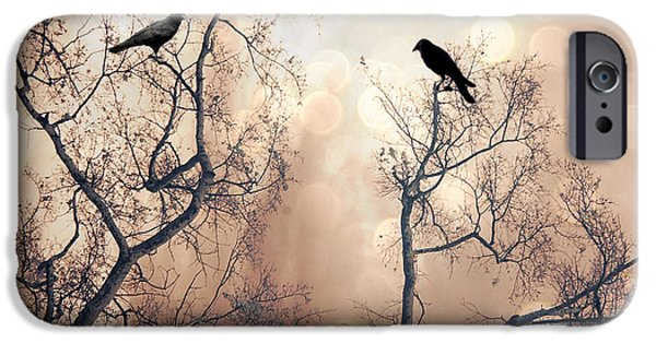 Crows iPhone Cases - Surreal Gothic Nature Ravens Trees - Surreal Fantasy Dreamy Trees Nature Raven Crows Trees  iPhone Case by Kathy Fornal