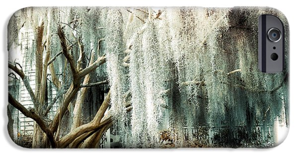 The South iPhone Cases - Surreal Gothic Savannah House Spanish Moss Hanging Trees - Savannah Mint Green Moss Trees iPhone Case by Kathy Fornal