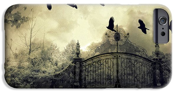 Crows iPhone Cases - Surreal Gothic Spooky Haunting Gate With Ravens iPhone Case by Kathy Fornal