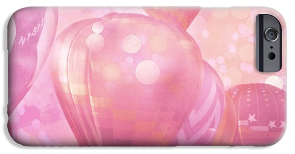 Hot Air Balloon iPhone Cases - Surreal Hot Air Balloons Fantasy Fairytale Print - Hot Pink Hot Air Balloons Festival Art  iPhone Case by Kathy Fornal