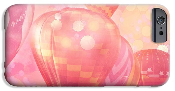 Hot Air Balloon iPhone Cases - Surreal Hot Pink Orange and Yellow Hot Air Balloons - Hot Air Balloons Festival Fantasy Art Prints iPhone Case by Kathy Fornal