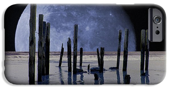 Moonscape iPhone Cases - Surreal Moon iPhone Case by John Wallace