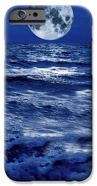 Sea Moon Full Moon Photographs iPhone Cases - Surreal Moon Rise Over Stormy Waters iPhone Case by Christian Lagereek