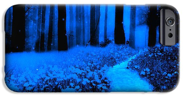 Moonlit Night Photographs iPhone Cases - Surreal Moonlight Blue Haunting Dark Fantasy Nature Path Woodlands iPhone Case by Kathy Fornal
