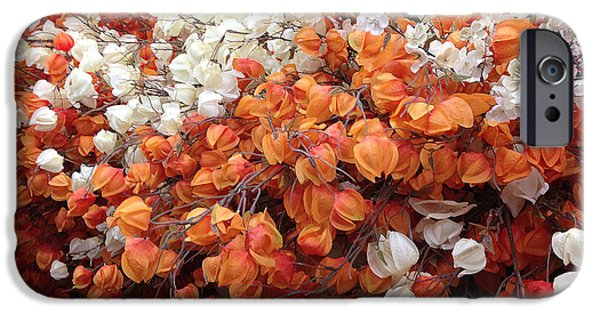 Colors Of Autumn iPhone Cases - Surreal Orange and White Fall Leaves Branches and  Flowers - Colors of Autumn Fall Leaves  iPhone Case by Kathy Fornal