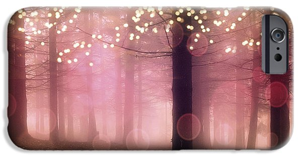 Dark Pink iPhone Cases - Surreal Pink Fantasy Fairy Lights Sparkling Nature Trees Woodlands - Pink Mauve Nature Bokeh Lights iPhone Case by Kathy Fornal