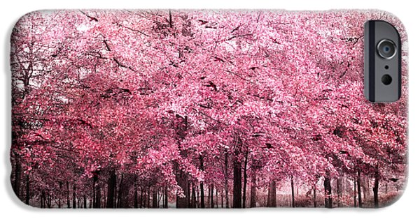 Tree Art Print iPhone Cases - Surreal Pink Tree Landscape - South Carolina Pink Nature Landscape iPhone Case by Kathy Fornal