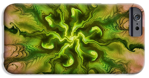 Green Surreal Geometric iPhone Cases - Surreal Reality iPhone Case by Deborah Benoit
