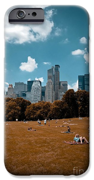 Surreal Summer Day in Central Park iPhone Case by Amy Cicconi