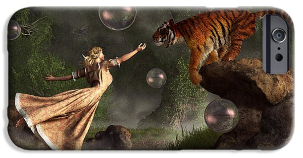 Animal Lover Digital iPhone Cases - Surreal Tiger Bubble Waterdancer Dream iPhone Case by Daniel Eskridge