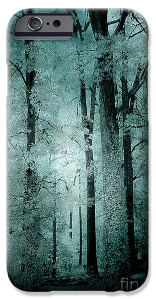 Eerie iPhone Cases - Surreal Trees Fantasy Dark Eerie Haunting Teal Green Woodlands Forest - Lost In The Woods iPhone Case by Kathy Fornal