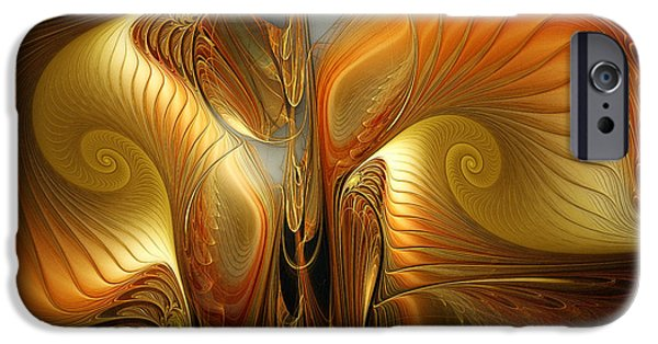 Contemplative iPhone Cases - Surrealistic Landscape-Fractal Design iPhone Case by Karin Kuhlmann