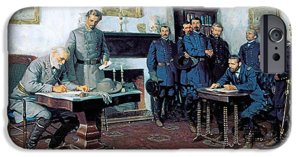 Tom iPhone Cases - Surrender at Appomattox iPhone Case by Tom Lovell