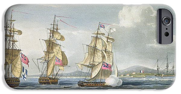 Sailing Drawings iPhone Cases - Surrender Of The Fort Of Tamatave iPhone Case by Thomas Whitcombe