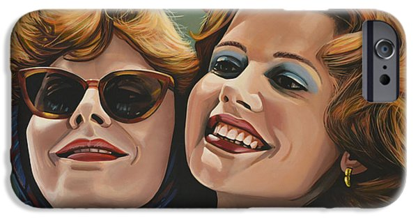 Idol Paintings iPhone Cases - Susan Sarandon and Geena Davies alias Thelma and Louise iPhone Case by Paul  Meijering