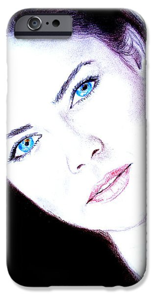 Susan Ward Blue Eyed Beauty with a Mole II iPhone Case by Jim Fitzpatrick