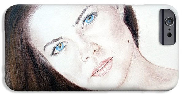 Beauty Mark iPhone Cases - Actress and Model Susan Ward Blue Eyed Beauty with a Mole iPhone Case by Jim Fitzpatrick